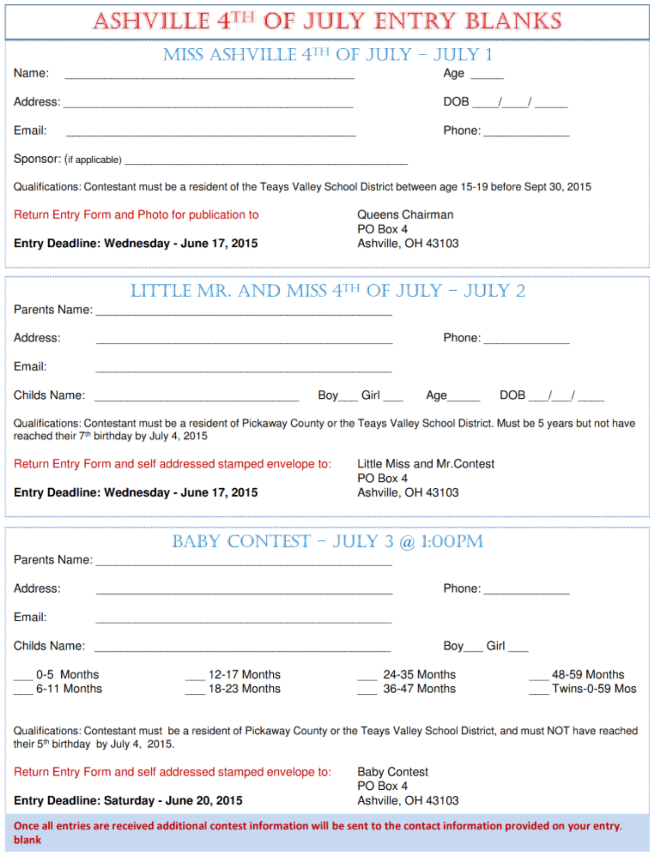 2015 Contest Form